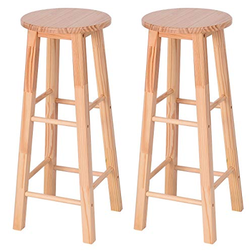(COSTWAY Bar Stool, Natural Wood Counter Height Bistro Square Leg high stools, Pine Natural Finish high Stool for Kitchen Counter, Set of 2)
