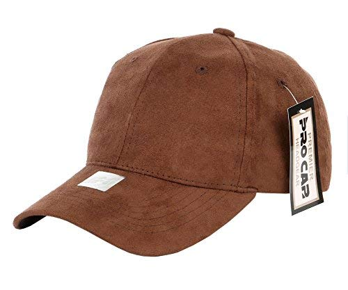 RufnTop Classic Faux Leather Suede Adjustable Plain Baseball Cap(Brown OS)