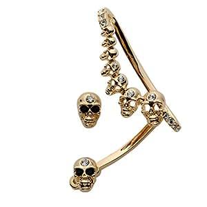 Szxc Jewelry Women's Crystal Skull Ear Wrap Cuff & Stud Earrings for Left Pierced Ear