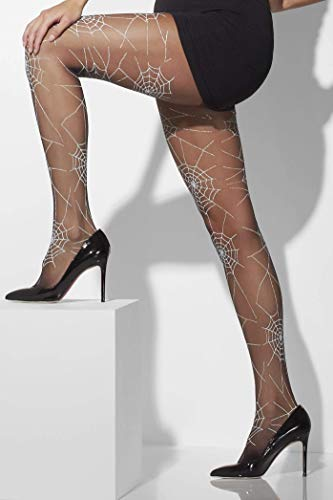 Fever Women's Opaque Tights Spiderweb Print, Black, One -