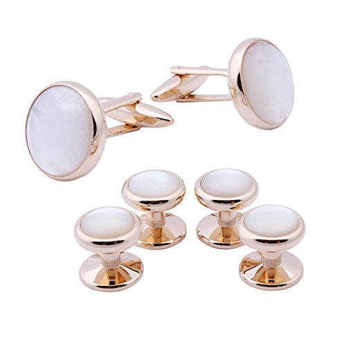 HAWSON Exquisite Mother of Pearl Rose Gold Shirt Studs Cufflinks Set for Wedding (Rose White Cufflinks)