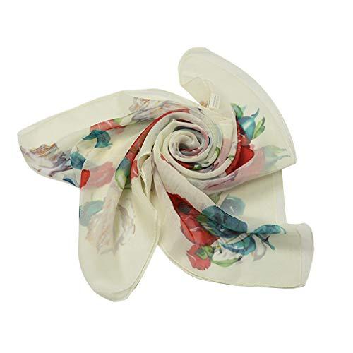 E-Clover Lightweight Chiffon Sheer Scarves: Women's Pretty Rose Print Scarf (Beige3) by E-Clover (Image #1)