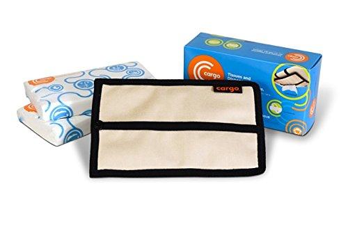 Cargo Tissues and Dispenser/Holder/Case for Your Cars Sun Visor: Starter Kit (Oatmeal Off-white)