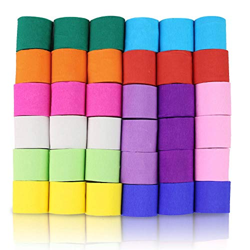 Koogel 36 Pcs Rainbow Streamers,12 Colours Paper Streamers Crepe Paper Streamers Streamer Paper Roll Each Color 147Ft Long for Party Decoration Party Family Gathering Graduation Ceremony Cinco De Mayo