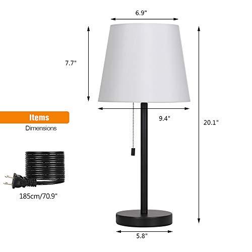 Modern Table Lamp Set of 2, Bedside Lamps for Bedroom, Living Room, Nightstand, Dresser, Desk, Coffee Table, Office