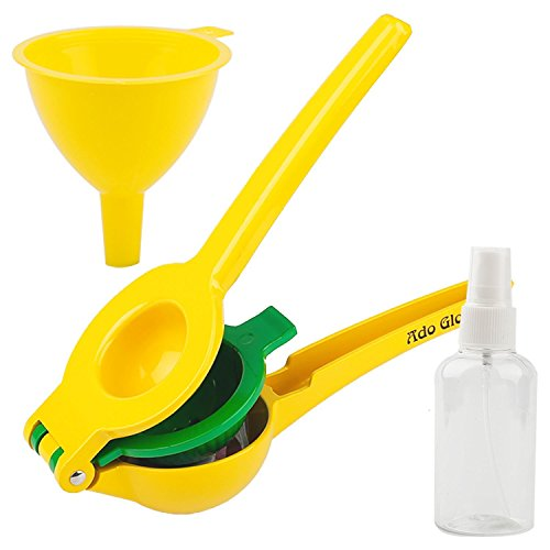 Aluminum Lemon Squeezer - Manual Lemon Squeezer - Premium Quality Lime Juicer - Aluminum Citrus Juicer with Cooking Sprayer & Mini Funnel (Aluminum Alloy)