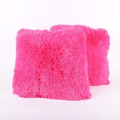 1 Pc Throw Long Banded Soft Plush Fur Pink Filled Decorative Pillow 16