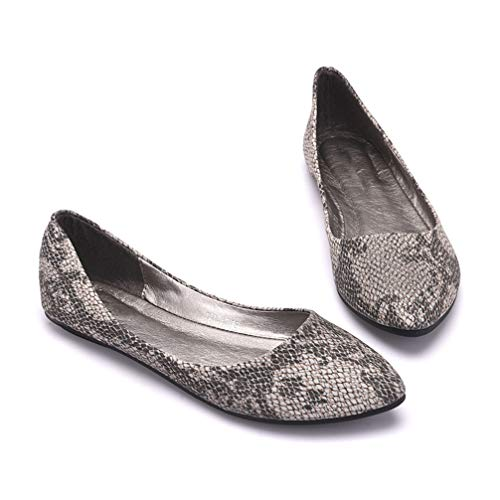 Women Flats Shoes Pointed Toe Shallow Snakeskin Comfortable Casual Flats Shoes