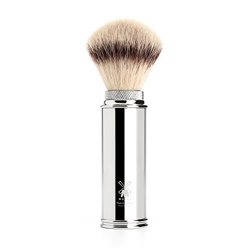 Muhle Synthetic Silvertip Fibre Travel Shaving Brush With Nickel Plated Handle