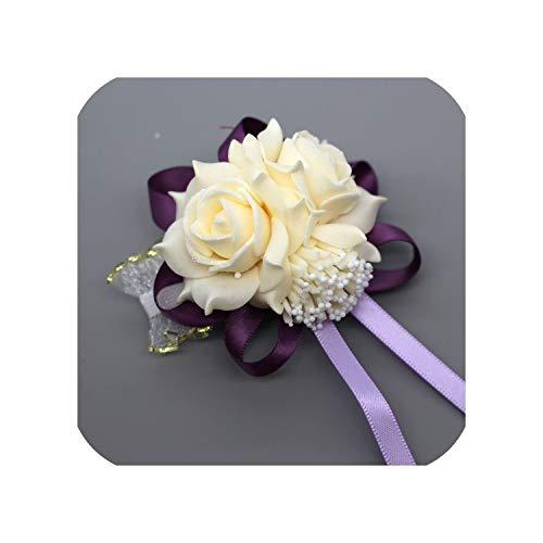 Wedding Decoration Mariage Rose Wrist Corsages Hand Flower Silk Lace Pe Foam Artificial Brides Bridesmaid Wrist Flower Christmas,Champagn Deep Purple (Christmas Pe Trees Uk)