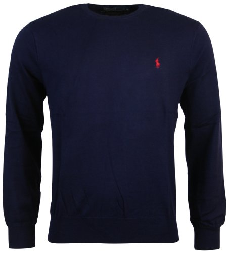Polo Ralph Lauren Men's Pima Cotton Classic Crewneck Sweater, Navy, L (Sweater 100% Pima Cotton)