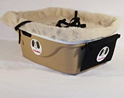1 Seater Dog Car Seat Finish: Tan, Lining Color: Sherpa Beige, Harness Size: Small