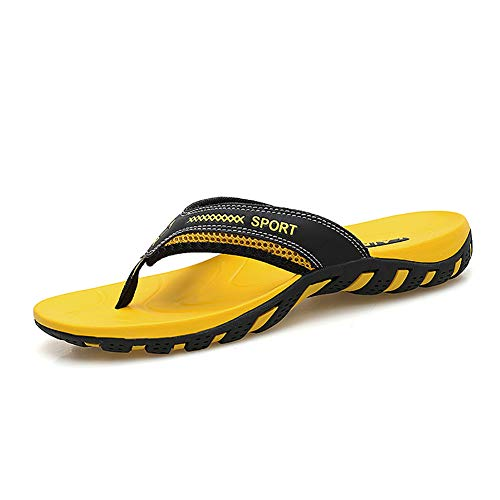 (TUOBUQU Mens Comfortable Flip Flops Summer Beach Sandals Outdoor Thong Flip Flops with Arch Support for Women Yellow 39)