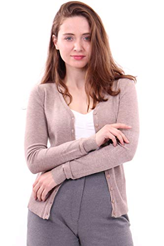 - WuhouPro Womens V-Neck Button Down Long Sleeve Knit Cardigan Sweater AZ 1100 Beige XL