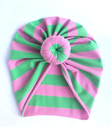 Baby Turban Samba Hot Pink and Green Stripes|Baby Turban|Adult Turban|Top Knot Turban|Top Knot Baby Hat|Kids Turbans|Toddler Turban|Newborn Turban