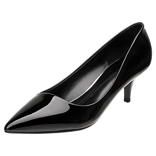 (SANMIO Women Heels, Pumps Shoes for Women Fashion Slip On Pointed Toe Low Heel Bridal Wedding Party Pumps (9 B(M) US = Lable 40, Black2) )