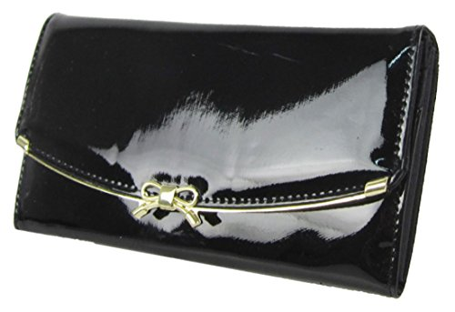 Patente Kukubird De Piel Sintética Con Frente Arco Metal Detalle Grandes Damas Monedero Embrague Black