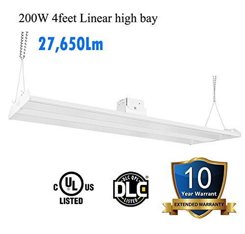 1000LED 4' LED High Bay Shop Light Fixture, 200W 27,650Lm (800W Eq.), 138Lm/W, Daylight 5000K, AC 110-277C, Indoor Area Warehouse Industrial Lighting, 10 Years Warranty, UL DLC Listed T5 High Bay