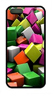3d coloured cube TPU Case Cover for iPhone 5 and iPhone 5s Black