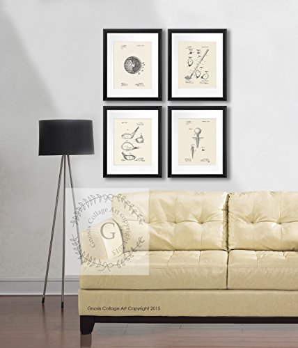 Review Golf Decor Prints Set of 4 Unframed Cream Beige Art Prints Golf Themed Wall Decor