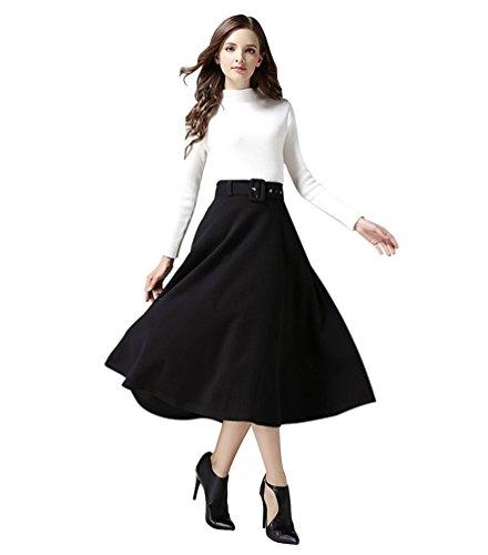 Haute Jupe avec ligne Femme Heheja Jupes Ceinture Noir A Loisirs Taille Maxi 8w4q1qIzx