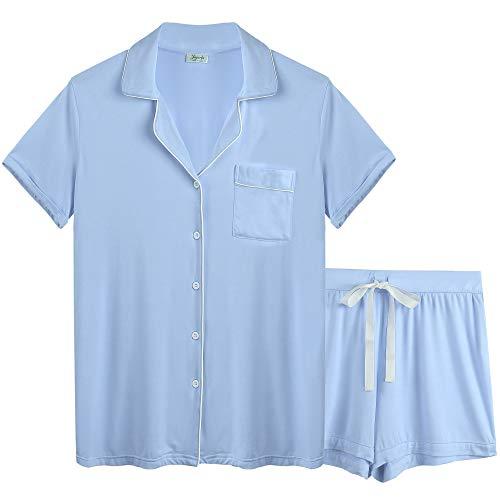 Joyaria Womens Soft Bamboo Pajama Sets Button Down Short Sleeve Pj Shorts Set Sleepwear (Light Blue, Small)
