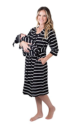 Matching Delivery Robe and Swaddle Blanket Set Mom and Baby (S/M 2-10, Black Striped)