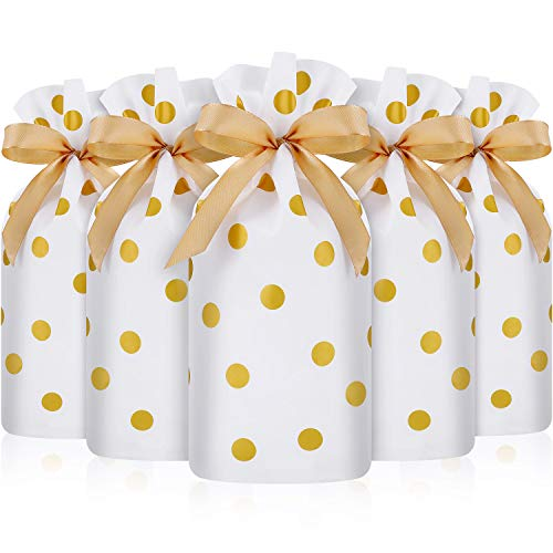 Frienda 30 Packs Treat Bags with Drawstring Candy Bags, Plastic Favor Bag Drawstring Cookie Bags for Christmas Wedding Party Birthday Engagement Holiday Favor (Gold Polka Dot Print)