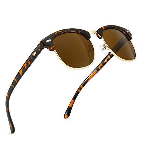 SUNGAIT 80s Sunglasses Retro Semi Rimless for Men Women (Amber Frame/Brown Lens) 3016 HPKC