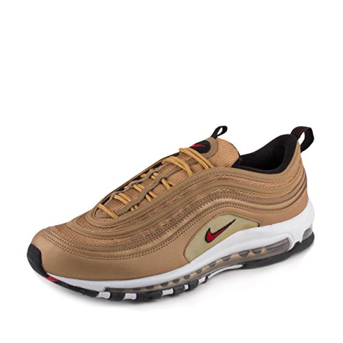 Nike NIKE AIR MAX 97 OG QS mens fashion-sneakers 884421-700_10.5 - METALLIC GOLD/VARSITY RED-WHITE-BLACK