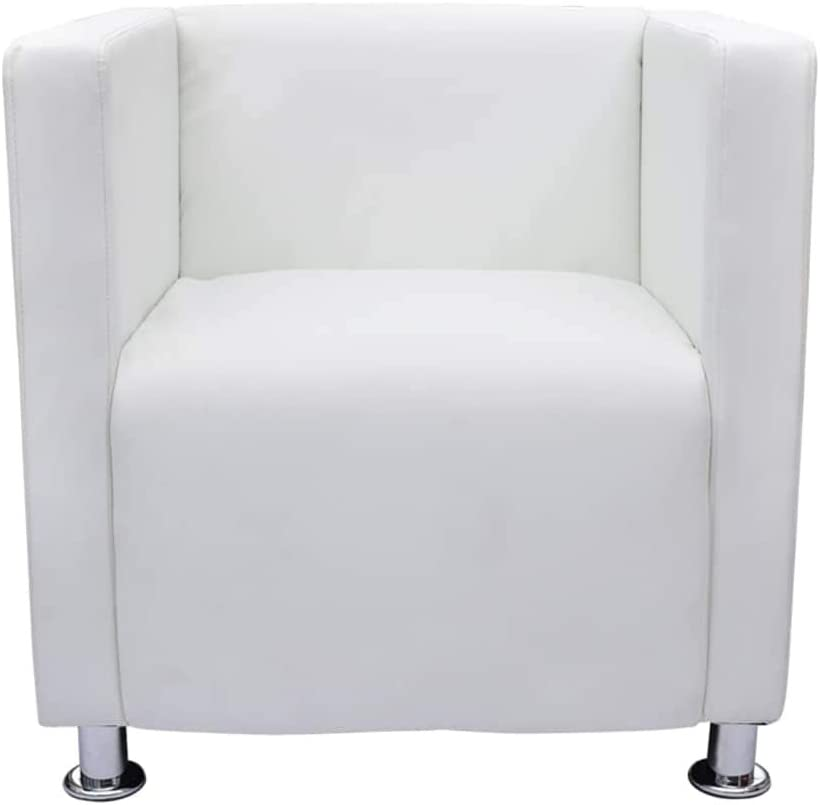 vidaXL Sillón Moderno Diseño de Cubo de Cuero Artificial Blanco Asiento Salón