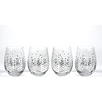 196e8fd11d7 Circleware 76827 Confetti Stemless Wine Glasses, Set of 4 Drinking  Glassware for Water, Juice, Beer, Liquor and Best Selling Kitchen & Home  Decor Bar Dining ...
