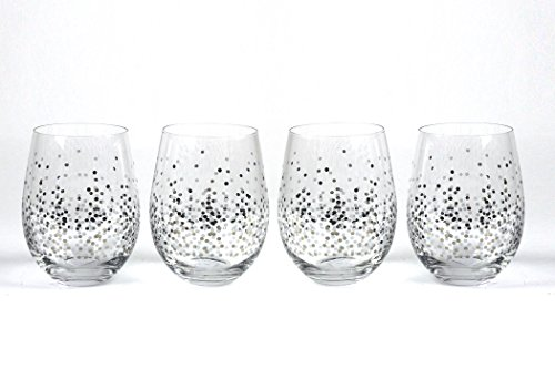 Circleware 76827 Confetti Stemless Wine Glasses, Set of 4 Drinking Glassware for Water, Juice, Beer, Liquor and Best Selling Kitchen & Home Decor Bar Dining Beverage Gifts, 18.9 oz, Silver For Sale