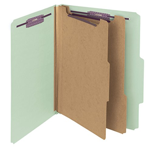 Smead Pressboard Classification Folder with SafeSHIELD Fasteners, 2 Dividers, 2