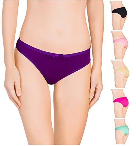 Nabtos Womens Underwear Sexy Cotton Bikini Plain Panties for Women (Pack of 6) (Medium/6, all 6 colors)