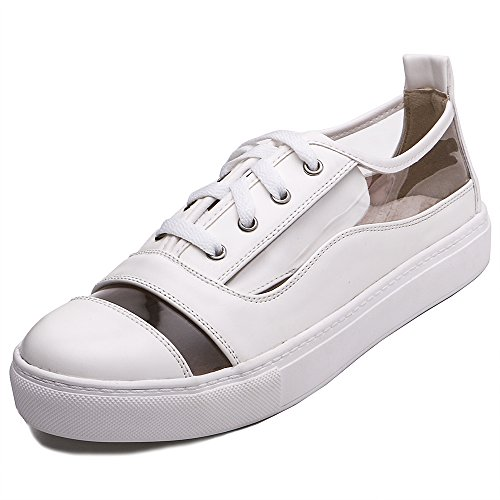 TONGPU Womens Slip On Loafer Shoes Transparent Breathable Flat Shoe White