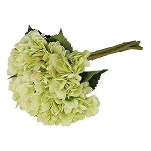 EZFLOWERY 5 Pcs Artificial Silk Hydrangeas Flowers Bouquet Arrangement, for Home Decor, Wedding, Office, Room, Hotel, Event, Party Decoration (Green) 100
