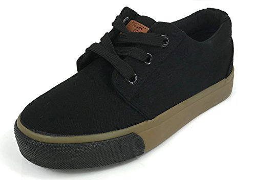 Boys Kids Classic Lace-Up Tennis Skate Sneakers Black 3 ()
