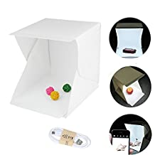 TIANYI LED Light Box Studio Shooting Tent Portable Folding Mini Photography Studio Box Photography Backdrop Built In Light Photo Box 2PCS White/Black Background Backdrops Kit (White 9×9.1×9.5inches/22.6×23×24cm)
