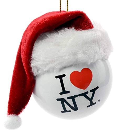 Kurt Adler I Love NY Ball with Santa Hat Christmas Ornament