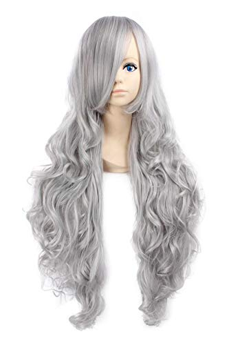 Miss Elegant 32''Long Wavy Cosplay Wig with Inclined Bangs Left Side Parting Lolita Anime Costume Cosplay Wigs None Lace Girls Daily Party Weeding Halloween Women Girls Heat Resistant (Sliver -