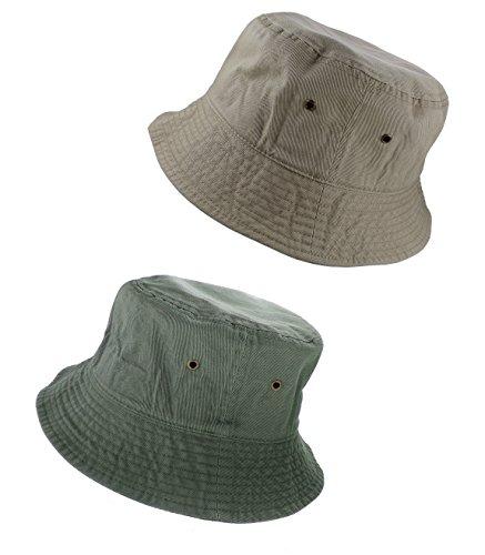 - Gelante 100% Cotton Packable Fishing Hunting Sunmmer Travel Bucket Cap Hat 1900-Khaki/Olive-S/M