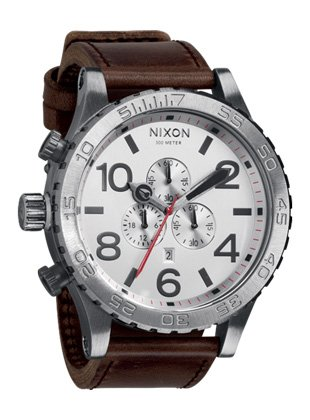 Nixon Men's A1241113 51-30 Chrono Stainless Steel Watch with Leather Band -
