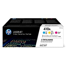 HP 410A Toner Cartridge Cyan, Yellow & Magenta, 3 Toner Cartridges (CF411A, CF412A, CF413A) for HP Color LaserJet Pro M452dn, M452dw, M452nw, MFP M477fdn, MFP M477fdw, MFP M477fnw