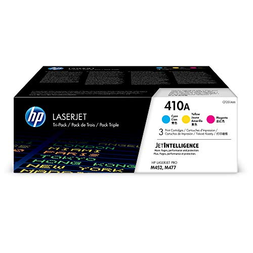 - HP 410A Toner Cartridge Cyan, Yellow & Magenta, 3 Toner Cartridges (CF411A, CF412A, CF413A) for HP Color LaserJet Pro M452dn, M452dw, M452nw, MFP M477fdn, MFP M477fdw, MFP M477fnw