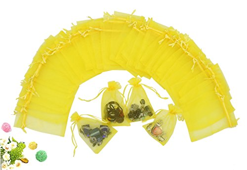 - Wuligirl 100 PCS Yellow Sheer Organza Drawstring Pouch Jewelry Marbles Coins Wedding Party Candy Bag Gift Festival Gift Bags(100 pcs Yellow, 4x6