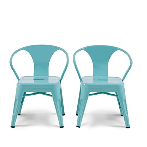 Versatile,Sleek and Sturdy Mainstays Graham Kids Metal Industrial Chair Set of 2 With Protective Rubber Floor Glides,Perfect for Kids Room,Playroom or Classroom,Spearmint