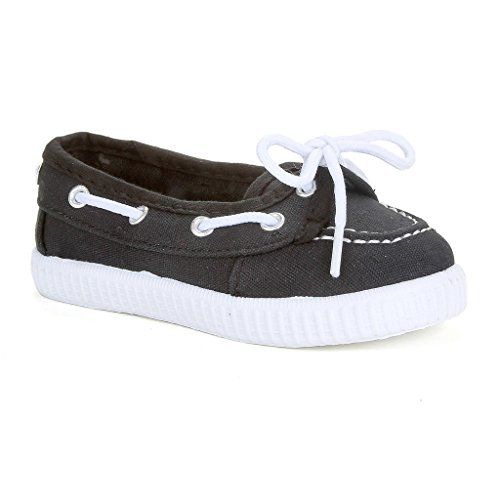 Twisted Girl's Canvas Fashion Boat Shoe - CHAMPION11BLACK-Y, Size 11