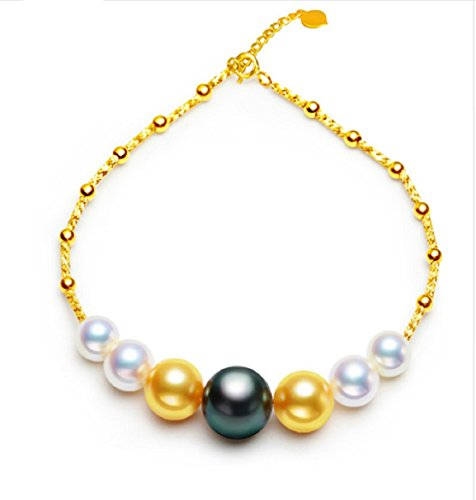 GOWE Mix Color Saltwater Tahitian & Akoya Pearl 18k Gold Bracelets