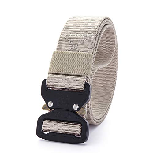 MEILISAY Anti Odor Army Tactical Belt, Military Webbing Rigger Duty Gun Belt with Quick-Release Metal Buckle BE001,Beige,M